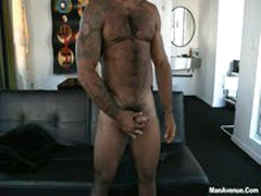 Hairy Muscle Guy In HOT PhotoShoot. Hard. Hairy. Dick.