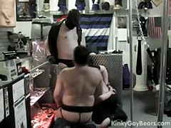 Two Bear Slaves Suck Off Their Master