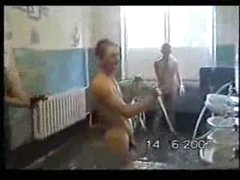 Russian Soldiers Taking Morning Shower