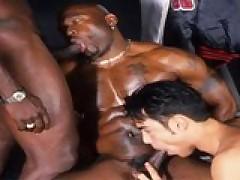 Threesome Interracial Gay Ass Pounding
